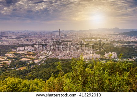 Korea,Sunset of Seoul City Skyline
