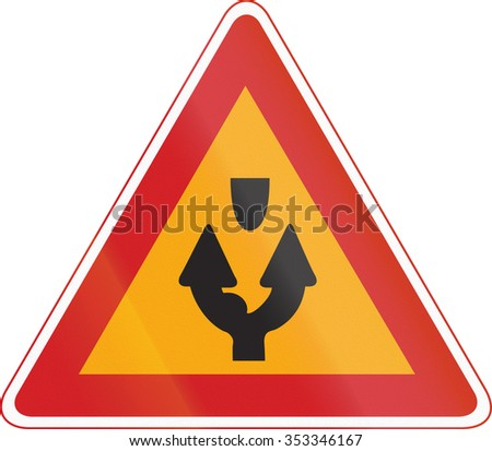 Korea Traffic Safety Sign - Attention - Both Side Road.