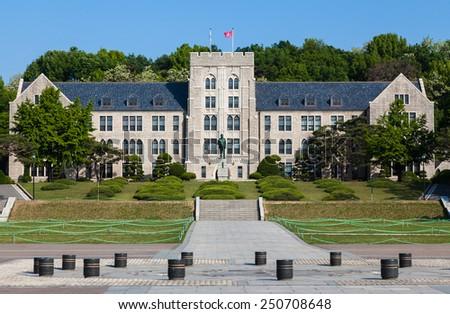 Korea University main building in Seoul, South Korea. - stock photo
