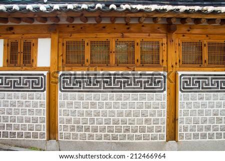 Korea Wooden wall - stock photo