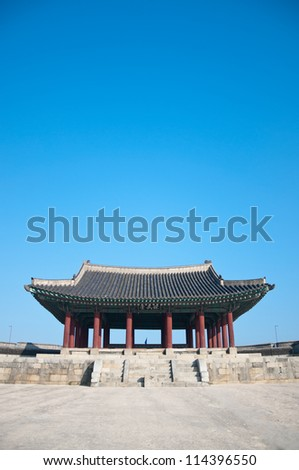 Korean architecture at Hwaseong Fortress, a UNESCO World Heritage site. - stock photo