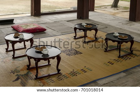 Korean Asian Style Tea House In A Calm And Warm Environment With Four Tables,  Tea