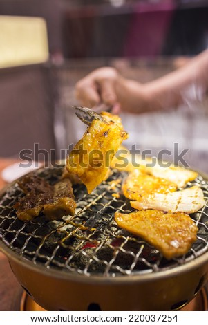 Korean BBQ in restaurant - stock photo
