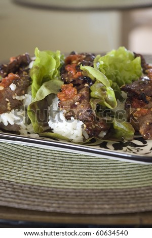 Korean Beef Bulgogi Red Leaf Lettuce Wraps - stock photo