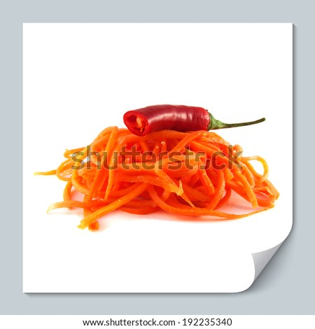 Korean carrot with half red hot chili pepper. Isolated on white background (spicy food). - stock photo