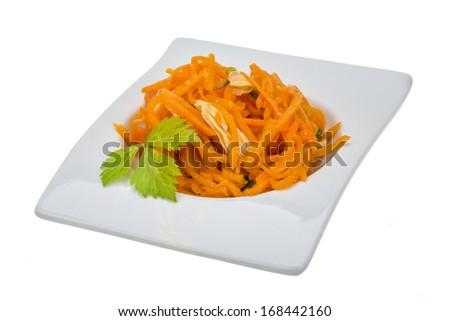 Korean carrot with parsley - stock photo
