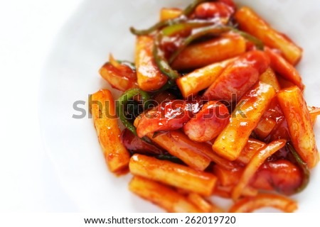 Korean cuisine, Topokki street food - stock photo