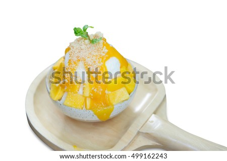 Korean dessert, Cheese Mango Bingsu isolated on white background.