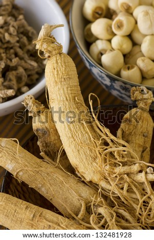 Korean Dried Ginseng; Non sharpened file - stock photo