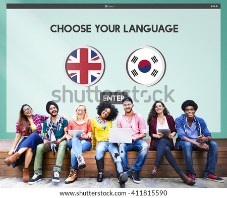 Korean English Language Communication Global Concept - stock photo