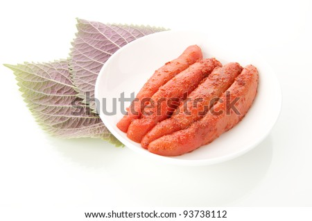 Korean food : Jeotgal jeot made with roe of pollock - stock photo