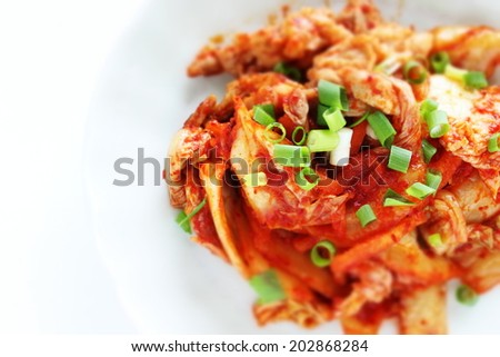 Korean food, pork and Kimchi stir fried in diorama style - stock photo
