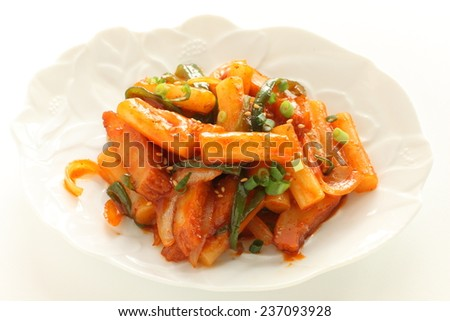 Korean food, rice cake stir fried with vegetable Tteokbokki - stock photo