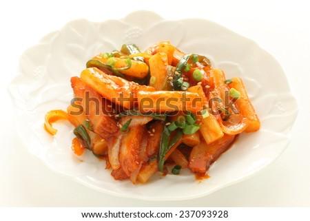 Korean food, rice cake stir fried with vegetable Tteokbokki - stock photo