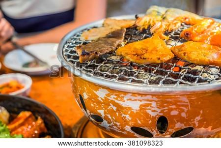 Korean Food Roasted Meat Korea Bbq Grill Food Shrimp Pork And Beef Grill