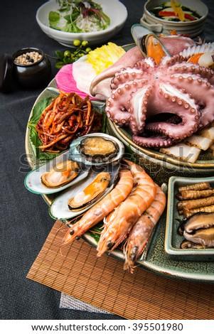 Korean food, Seafood dishes - stock photo