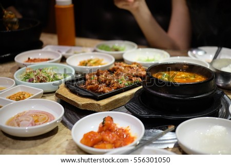 Korean food with side dishes