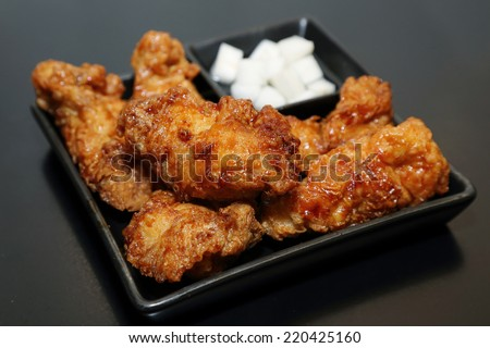 korean fried chicken in a plate - stock photo
