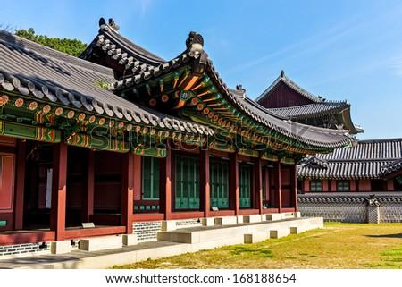 Korean historical architecture - stock photo