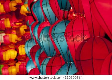 Korean lanterns - stock photo