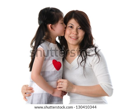korean mother and her daughter with isolated background during mother's day - stock photo