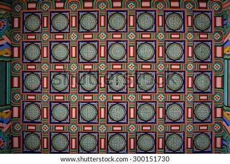 korean palace,korean traditional house, ceiling - stock photo