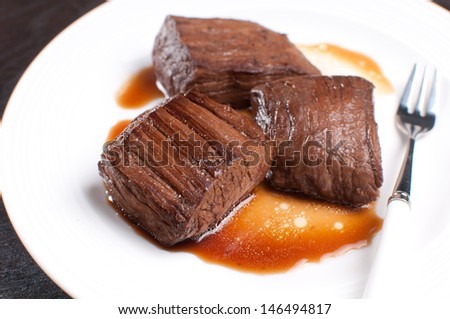 Korean soy sauce beef steak closeup