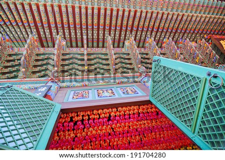 Korean Traditional Buddhist Temple Painting and Buddha Birthday Festival's Lanterns (Jogyesa Temple, Seoul) - stock photo