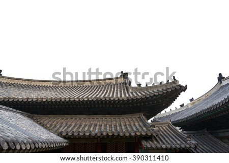 Korean traditional tiled roofs, isolated on white. - stock photo