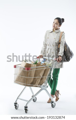 Korean woman with grocery shopping