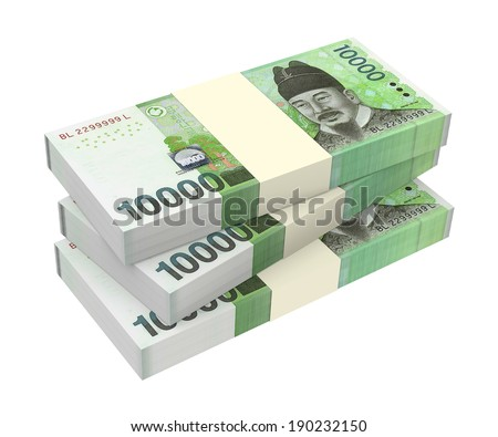 Korean won money isolated on white background. Computer generated 3D photo rendering. - stock photo