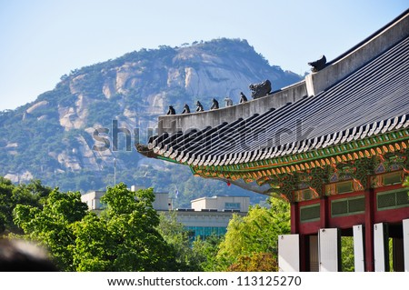 Korean Wooden Roof - stock photo