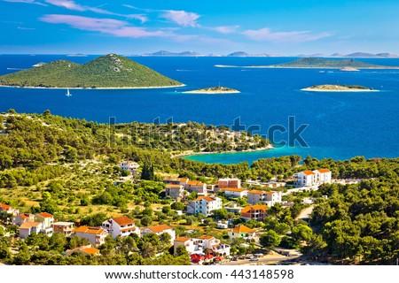 Kornati islands national park view from Drage village, Dalmatia, Croatia - stock photo