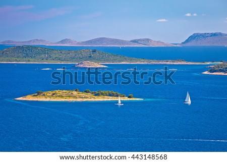 Kornati national park archipelago view, sailing destination in Croatia - stock photo