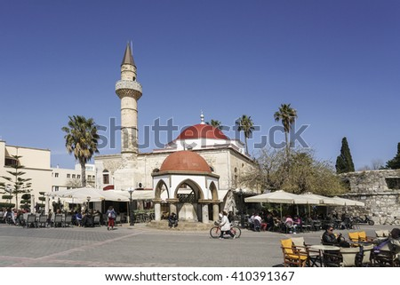 KOS ISLAND, GREECE - MARCH 21, 2016; Famous Eleftherias Square of Kos town in Kos island of Greece.