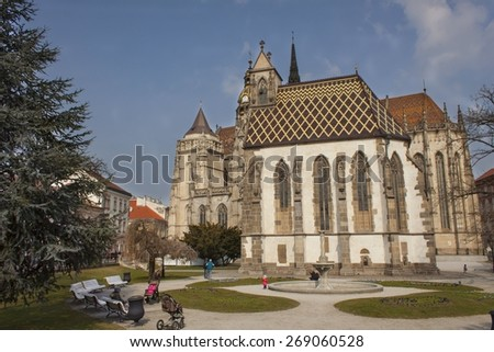 Kosice, Slovak Republic, March 25, 2015: St. Michael Chapel and  St. Elizabeth Cathedral built in 1508, the largest church in the Slovak Republic, the easternmost Gothic cathedral in Europe
