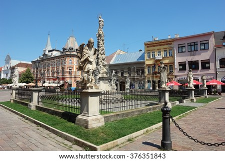 KOSICE, SLOVAKIA - AUGUST 3, 2013: Monument with kolumn on the central square in Kosice, Slovakia.