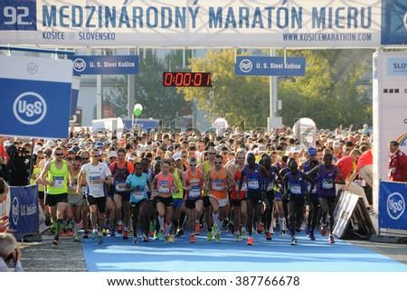 KOSICE, SLOVAKIA - OCTOBER 6, 2015: Runners start the International Peace Marathon, October 6, 2015 in Kosice, Slovakia. - stock photo