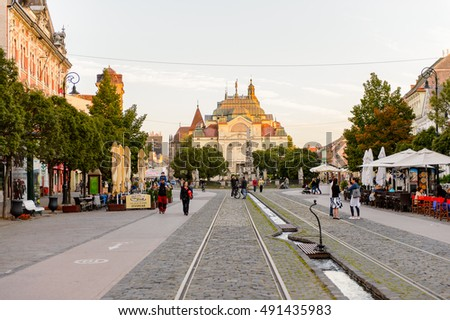 KOSICE, SLOVAKIA - SEP 25, 2016: Architecture of Kosice, the biggest city in eastern Slovakia. It was the European Capital of Culture in 2013