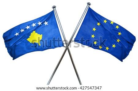 Kosovo flag  combined with european union flag