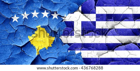 Kosovo flag with Greece flag on a grunge cracked wall