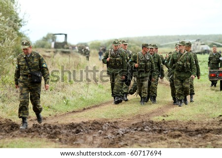 KOSTROMA REGION - AUGUST 26: Soldiers on the Command post exercises with 98-th Guards Airborne Division, August 26, 2010 in Kostroma region, Russia. - stock photo