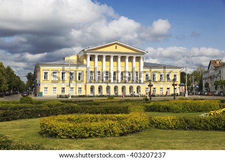 KOSTROMA, RUSSIA - JULY 24, 2014: The farmstead house of 19 century, which belonged to Lieutenant General Borshchov