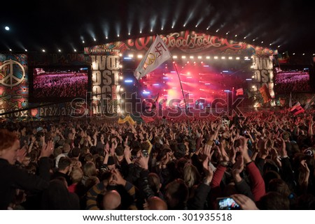 Kostrzyn Nad Odra, Poland. 30th JULY, 2015. Concert Polish band Coma during 21 Festival Przystanek Woodstock - it is the biggest open music festival in Europe.  - stock photo