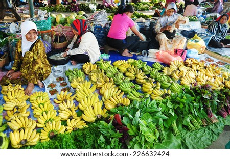 Kota Belud, Sabah Malaysia. April 13, 2014 : local farmers selling agriculture product at a local market called 'Tamu' in Sabah Malaysia.