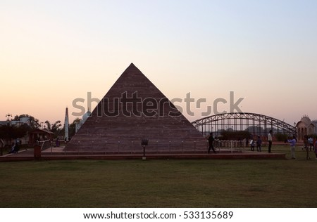 Kota, India November 27, 2016: The Replica Of Pyramids Of Egypt Situated In