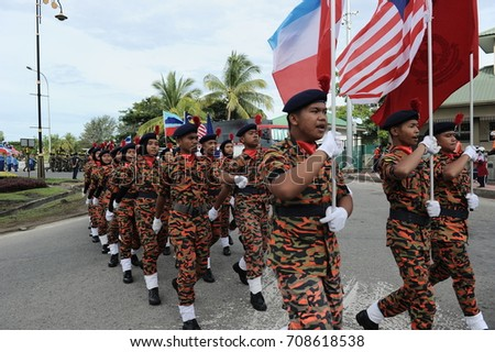 KOTA KINABALU,MALAYSIA - AUGUST 31, 2017: Participant during 60th Celebrations, Malaysian Independence Day Parade on August 31, 2017 in Kota Kinabalu, Malaysia