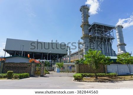 Kota Kinabalu Malaysia - Feb 25, 2016 : Ranhill Powertron power plant at KKIP Sabah is Independent Power Provider to Sabah electricity grid full capacity of total 380MW, contributing 43% to the Grid.