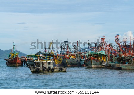 KOTA KINABALU, MALAYSIA - 28TH DECEMBER 2016; Fisherman boats anchored at Kota Kinabalu (KK).  KK is a major city with unquestionably some of the best beaches on the Borneo island.