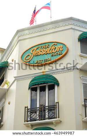 KOTA KINABALU, MY-JUNE 21: Jesselton Hotel facade on June 21, 2016 in Jalan Gaya, Kota Kinabalu. Jesselton Hotel is a timeless piece of colonial beauty, with passenger lift services to its guestrooms.